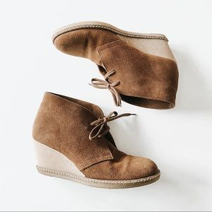 J Crew | Brown Suede MacAlister Lace Wedges